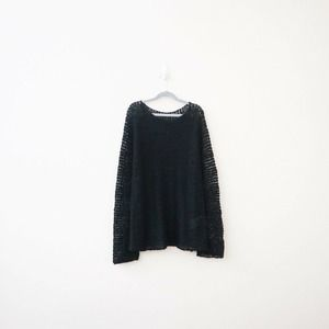 Oska Linen Blend Nubby Open Knit Pullover Sweater